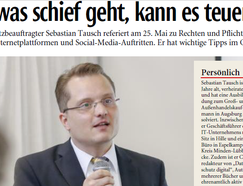 Interview mit Lippische Landes-Zeitung zur DSGVO & Hinweis zum Seminar für Ehrenamtliche