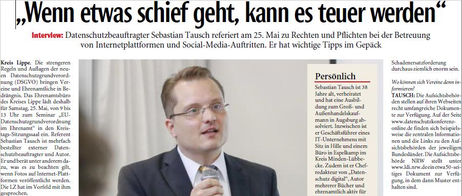 Auszug Interview Lippsche Landeszeitung mit Sebastian Tausch zur DSGVO