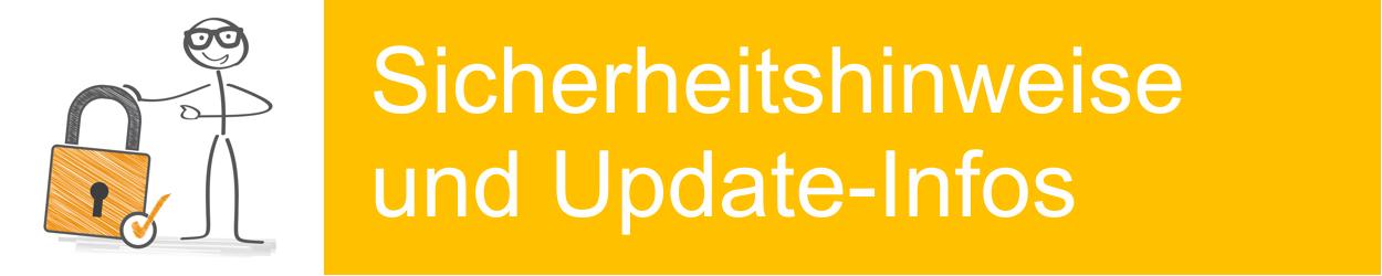 Banner Sicherheitshinweise und Update-Infos